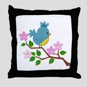 Bird on Tree Limb with Spring Flowers Throw Pillow