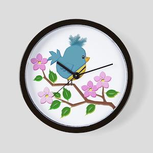 Bird on Tree Limb with Spring Flowers Wall Clock