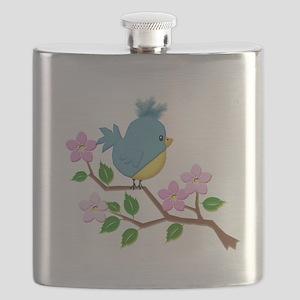 Bird on Tree Limb with Spring Flowers Flask