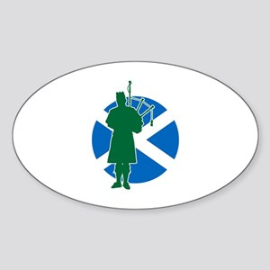 Scottish Piper Sticker (Oval)