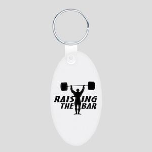 Raising The Bar Aluminum Oval Keychain