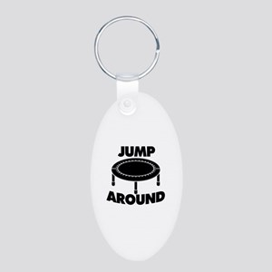 Jump Around Trampoline Aluminum Oval Keychain