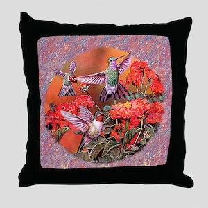 3 Hummingbirds Throw Pillow