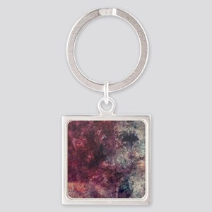 Watercolor / acrylic in purple and Square Keychain