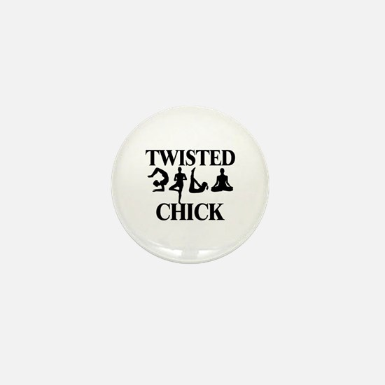 Twisted Yoga Chick Mini Button