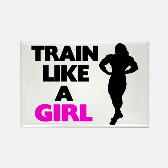Train Like A Girl Rectangle Magnet