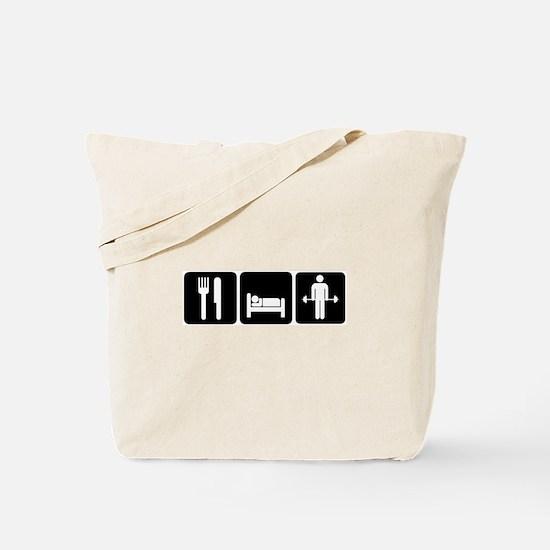 Man Eat Sleep Lift Weights Tote Bag