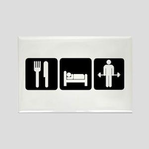 Man Eat Sleep Lift Weights Rectangle Magnet
