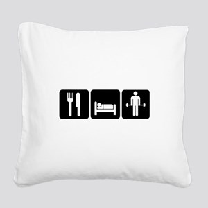 Man Eat Sleep Lift Weights Square Canvas Pillow