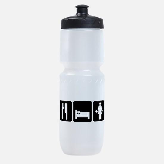 Woman Eat Sleep Lift Weights Sports Bottle