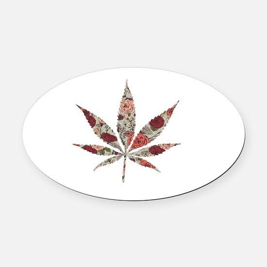 weed rose leaf Oval Car Magnet