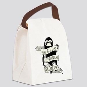 nap all day sleep all night party Canvas Lunch Bag