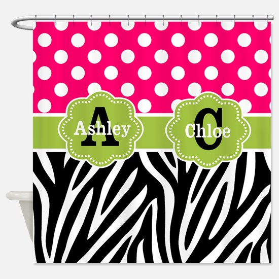 Pink Green Dots Zebra Personlaized Shower Curtain