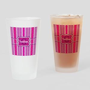 Girly Pink Tribal Chevron Monogram Drinking Glass