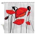 Big Red Poppies Shower Curtain