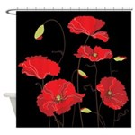 Red Calif Poppies Shower Curtain