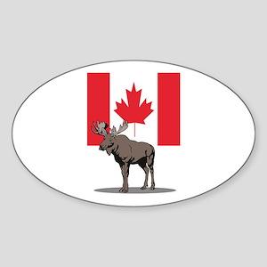 Canadian Moose Oval Sticker