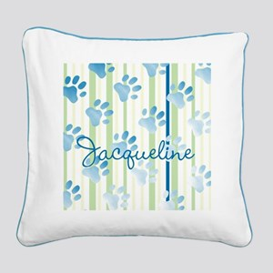 Personalized Paw Prints Square Canvas Pillow