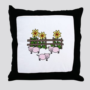 Farm Animals Fence Sunflower Country Hog Pig Throw