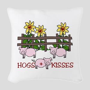 Hogs Kissess Woven Throw Pillow
