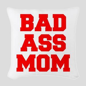 bad-ass-mom-FRESH-RED Woven Throw Pillow