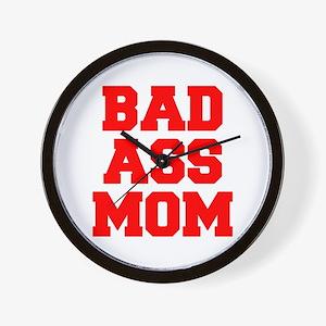 bad-ass-mom-FRESH-RED Wall Clock