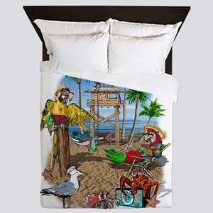 Parrot Beach Shack Queen Duvet