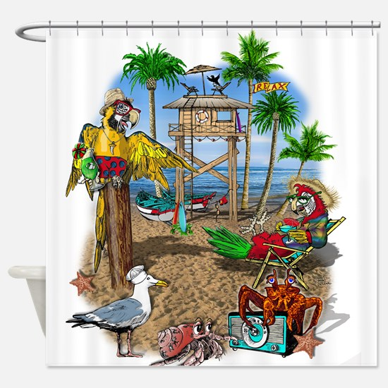 Parrot Beach Shack Shower Curtain