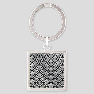 Elegant Black and Silver Art Deco Keychains