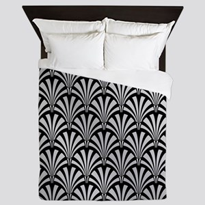 Elegant Black and Silver Art Deco Queen Duvet
