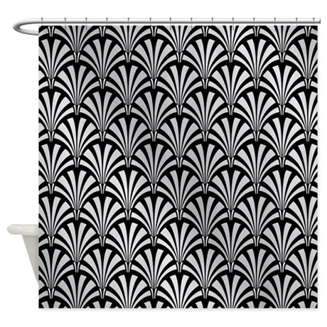 Superior Elegant Black And Silver Art Deco Shower Curtain
