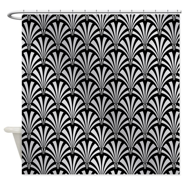 Elegant Black And Silver Art Deco Shower Curtain By ClipArtMEGAmart