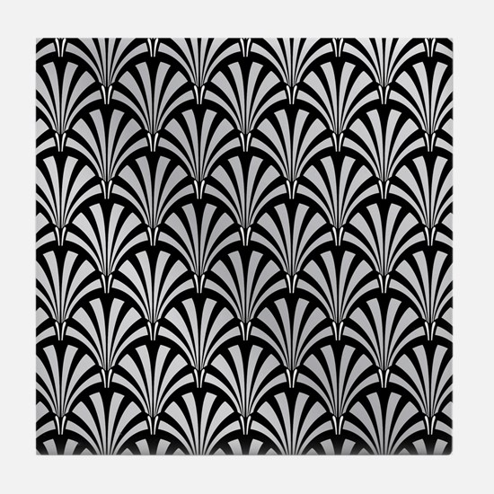 Elegant Black and Silver Art Deco Tile Coaster