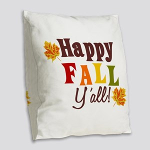 Happy Fall Yall! Burlap Throw Pillow