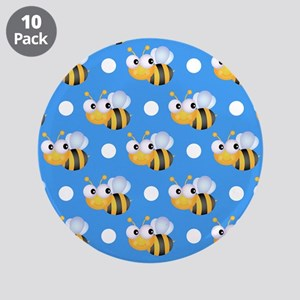"Cute Bee, Sky Blue White Polka Dots 3.5"" Button (1"
