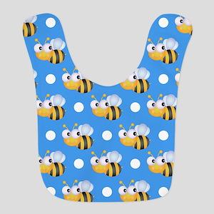 Cute Bee, Sky Blue White Polka Dots Bib