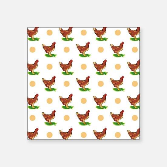 Cute Rooster, Chicken, Tan Polka Dots Sticker