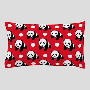 Cute Panda; Red, Black White Polka Dots Pillow Cas
