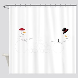 Snowball Fight Shower Curtain