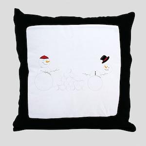 Snowball Fight Throw Pillow