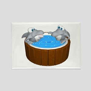 Sharks in a Hot Tub Rectangle Magnet