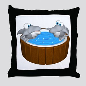 Sharks in a Hot Tub Throw Pillow