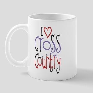 I Love (heart) Cross Country (left) Mugs
