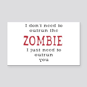 Outrun The Zombie 3 Rectangle Car Magnet