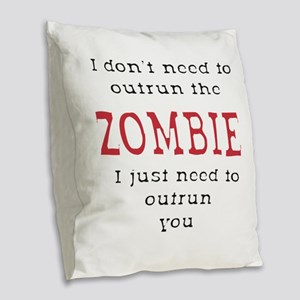 Outrun The Zombie 3 Burlap Throw Pillow