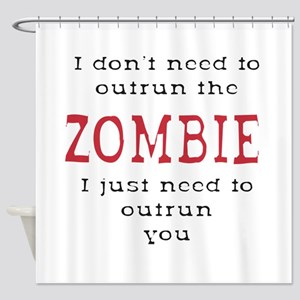 Outrun The Zombie 3 Shower Curtain