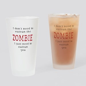 Outrun The Zombie 3 Drinking Glass