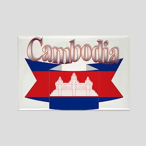 Cambodian flag ribbon Rectangle Magnet