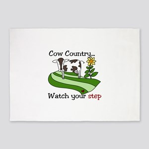 Cow Country Watch your step 5'x7'Area Rug