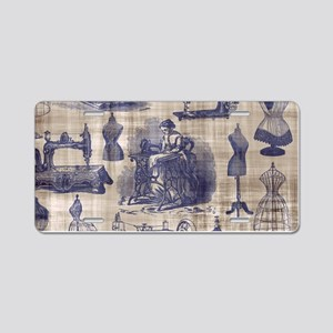 Vintage Sewing Toile Aluminum License Plate